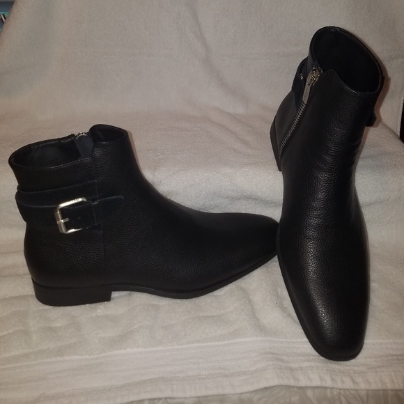 Calvin Klein Mens Lorenzo Leather Boot Calvin Klein Black Leather Boots Shoes